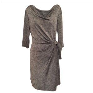Ann Taylor Gray Faux Wrap 3/4 Sleeve  Dress LP